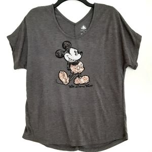 Disney Mickey Mouse Sequins Oversized Tee  Sz Sm